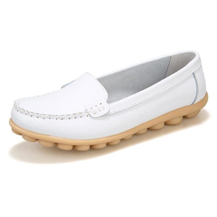 ballerines Slip chaussures les confortable femme cuir été Casual sur Chaussures Mocassins Flat en Mode véritable Femmes HUxqPS