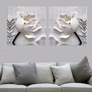 OBJET DÉCORATION MURALE 2 pièces modernes blanc Lotus fleurs définition ph