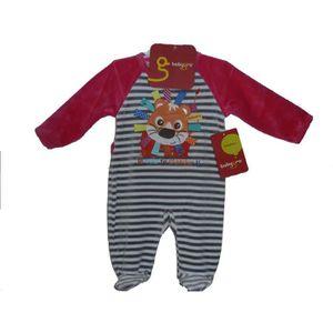 157a04ad08f5a Pyjama bébé filles babygro en velours 12 mois gris rose