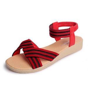 SANDALE - NU-PIEDS sandales femmes de la mode nouveau simple Stripe c