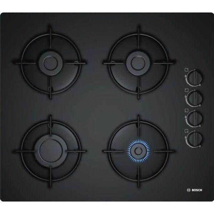 BOSCH POP6B6B10 Table de cuisson gaz - 4 foyers - 7400W - L56 x P48cm - Revêtement verre trempé - No