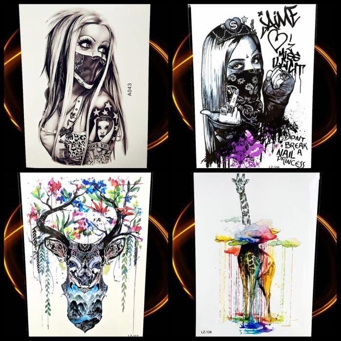 Croquis De Tatouage 4 morceaux crayon croquis temporaire tatouage gangster fille bras
