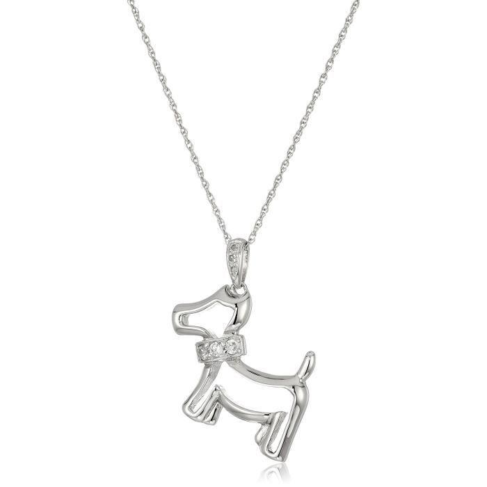 Jewel Panda sterling zircone cubique blanc argenté et blanc diamant pendentif collier de chien, 18  B0JYO