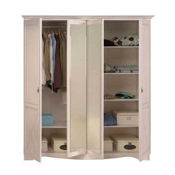 armoire 4 portes pin blanc gentiane l 195 x l 67 x h 206 cm achat vente armoire de. Black Bedroom Furniture Sets. Home Design Ideas