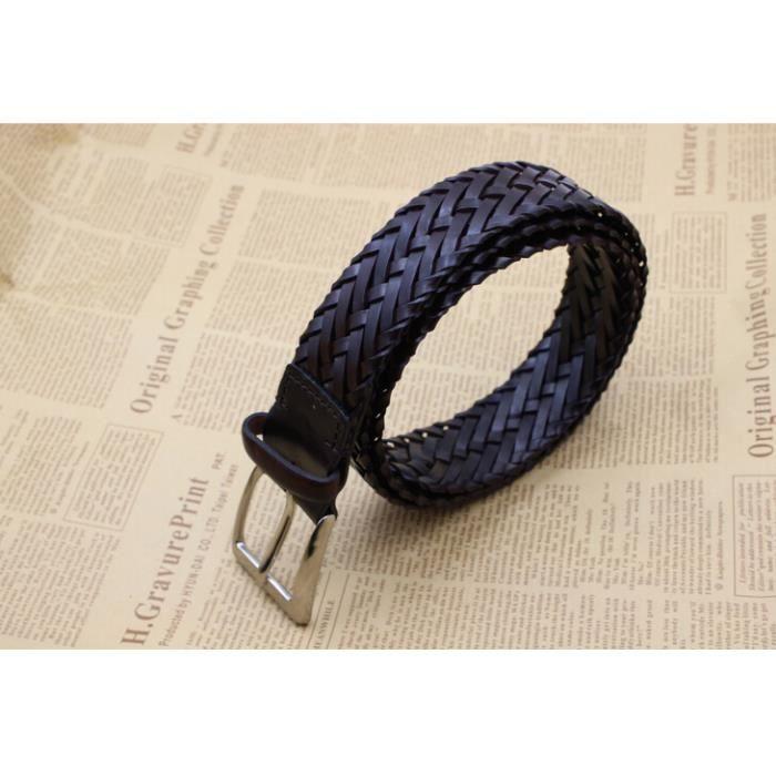 Ceintures femmes Italie a importé verte ceinture tressée en cuir litière  verte ceinture de cuir broche de papier à boucle(café noir) 9bd66db2f0d