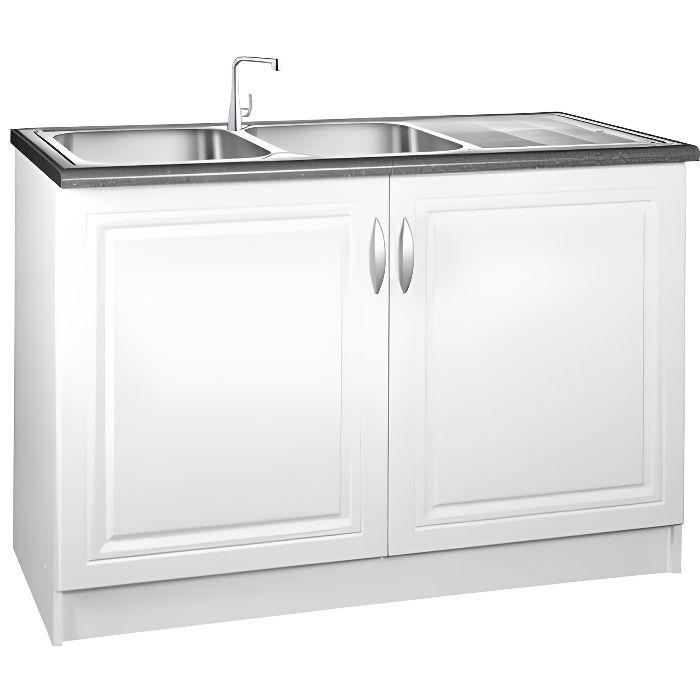 meuble bas de cuisine 120 cm blanc achat vente pas cher. Black Bedroom Furniture Sets. Home Design Ideas