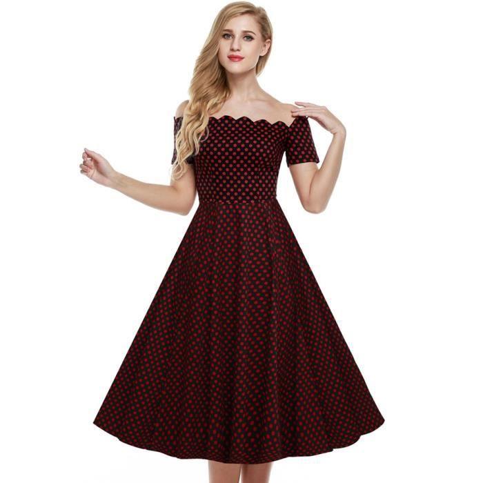 289ca11f060 Robe femme longue Finejo robe de soirée épaule ... Rouge et noir ...