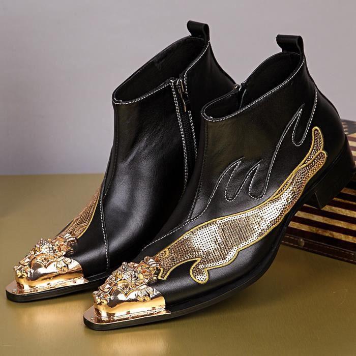 Plus Size 45 46 main Hommes Martin Bottes Chaussures en cuir de dragon d'or Santiags Hommes Métal Pointu Tip Fashion Party Glitter
