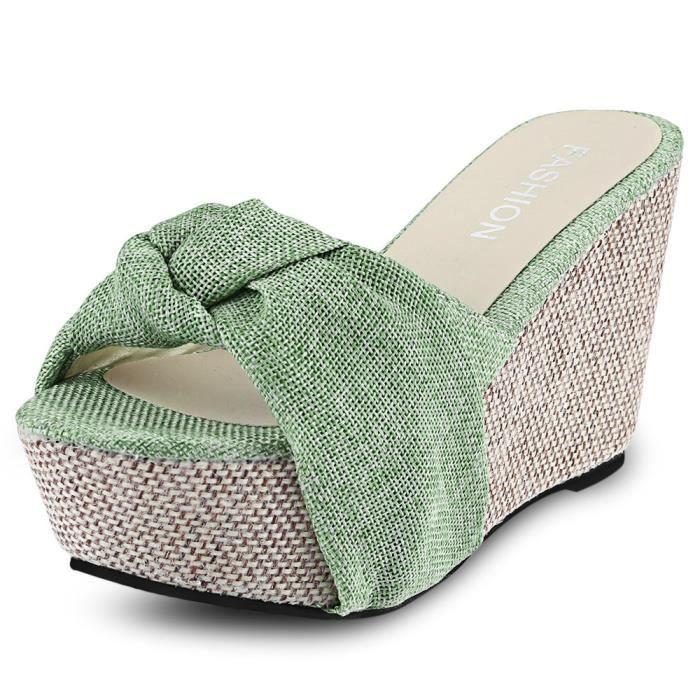 Mignon bowknot dames en tissu plateforme talon compensé Chaussons