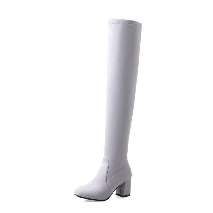 Oaleen Bottes cuissardes femme au-dessus du genou élastique chaussures hiver talon bloc gris 34