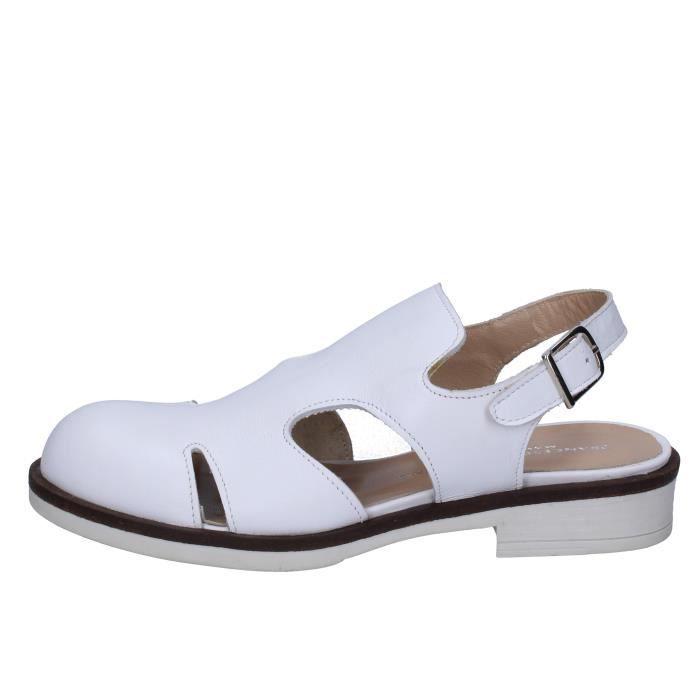 MINICHINO BT789 Sandale Femme Blanc cuir FRANCESCO Chaussures hCtrxsQd