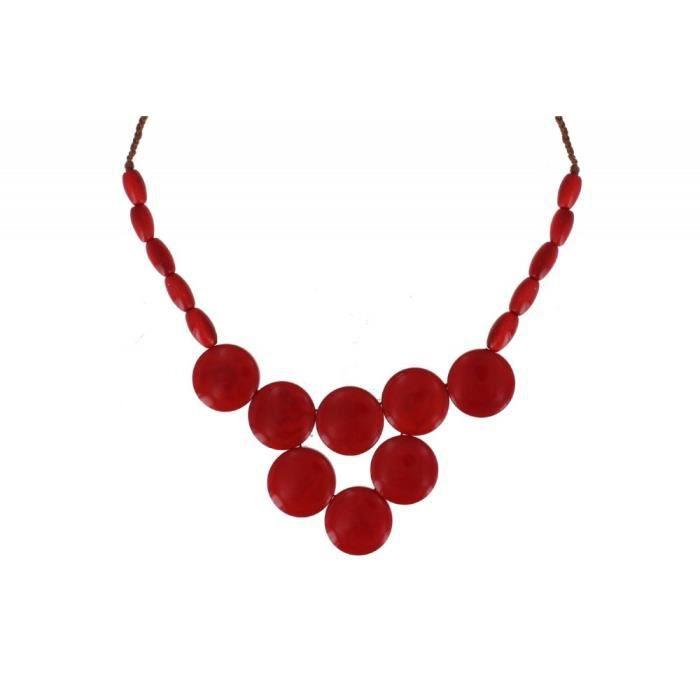 Les Poulettes Bijoux - Collier Tagua Pastilles Rouge