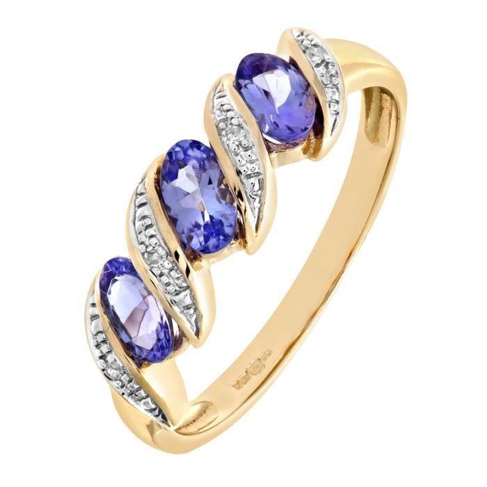 Revoni Bague alliance Tanzanite et Diamant Or Jaune 375° Femme: Poids du diamant : 0.02 ct - CD-PR06270YTanz-P