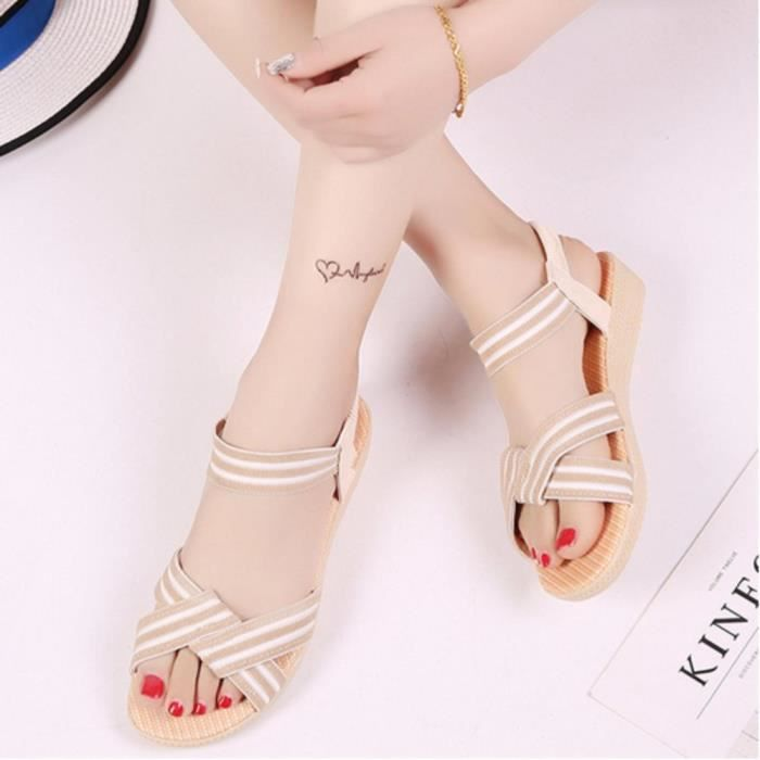 sandales femmes de la mode nouveau simple Stripe confortable plates poisson bouche décontracté xcFXy