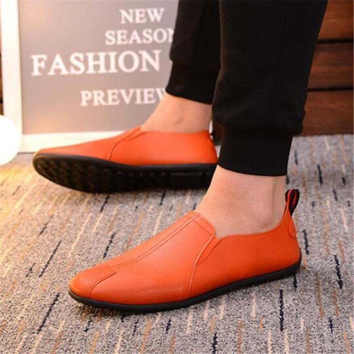 xz079jaune39 Dtg Printemps Chaussures Mocassins Cuir Plat Hommes Ete ay7wxwOH0q
