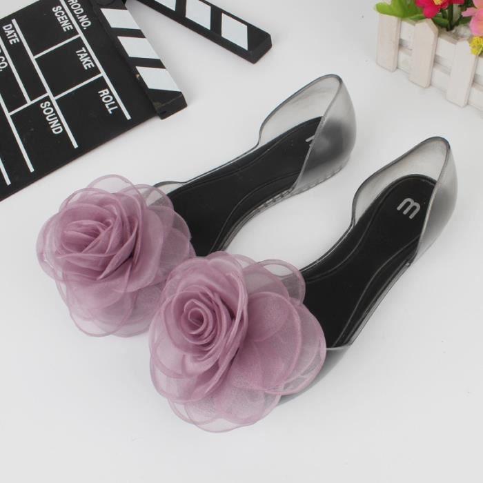 Doux bowknot Sandales d'été Chaussures Jelly Femme Cristal Appartements Transparent Casual plage dames Chaussures,violet,37