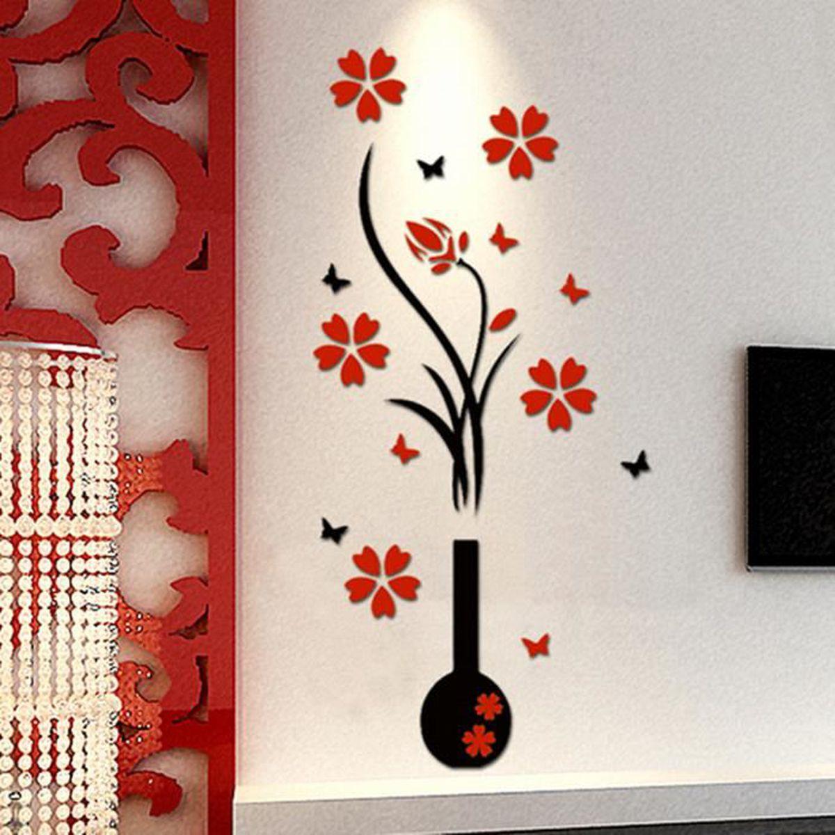 Diy 3d fleur vase stickers autocollant murale adh sive for Autocollant decoration murale