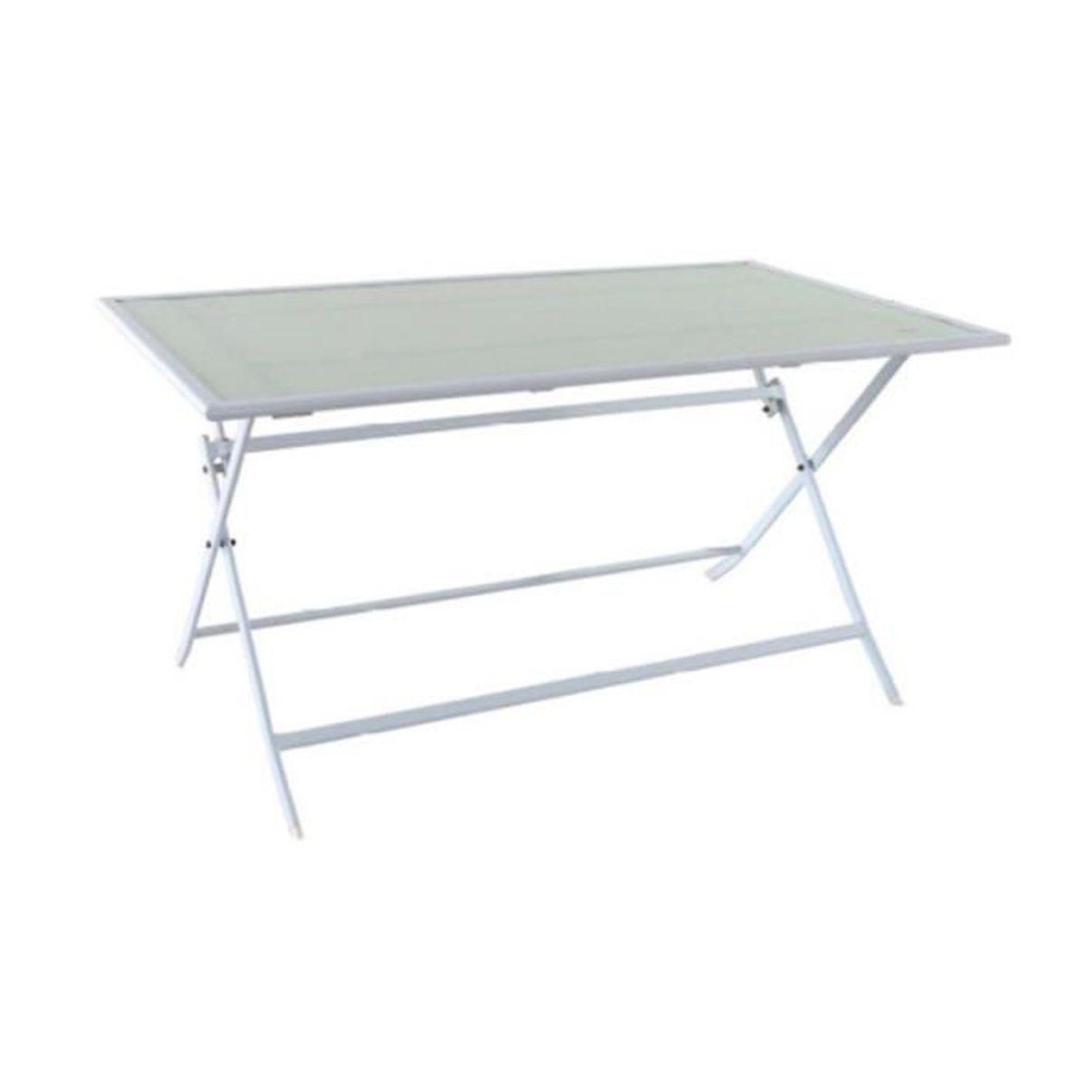 Table pliante en fer coloris blanc - 140 x 80 cm - Achat / Vente ...