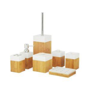 accessoires salle de bain bambou achat vente pas cher. Black Bedroom Furniture Sets. Home Design Ideas