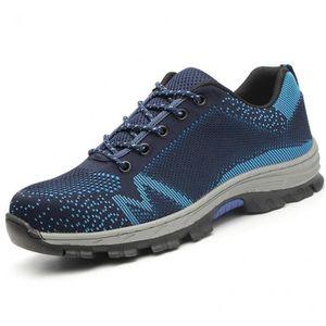 Chaussures de Sécurité Homme Chaussures de Travail Embout Acier Protection Confortable Léger Bleu