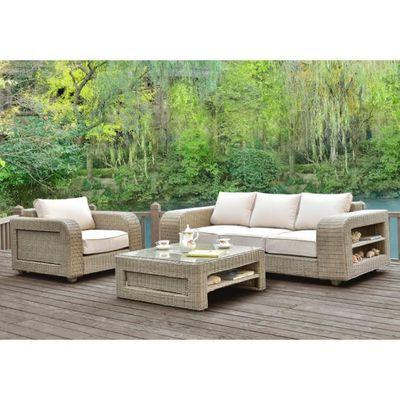 Salon de jardin KUOPIO en résine tressée beige : canapé, 1 fauteuil ...