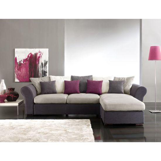 CANAPE D\'ANGLE ADELA GRIS ET PRUNE - Achat / Vente canapé - sofa ...
