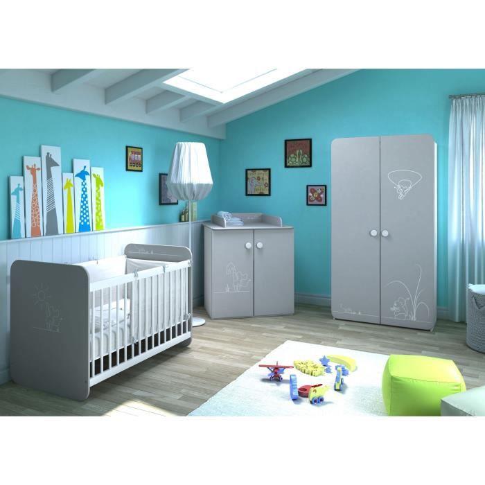 PETITE SOURIS Chambre Bébé Complète 3 pièces : Lit 60x120 cm + Armoire + Commode Table à Langer Gris