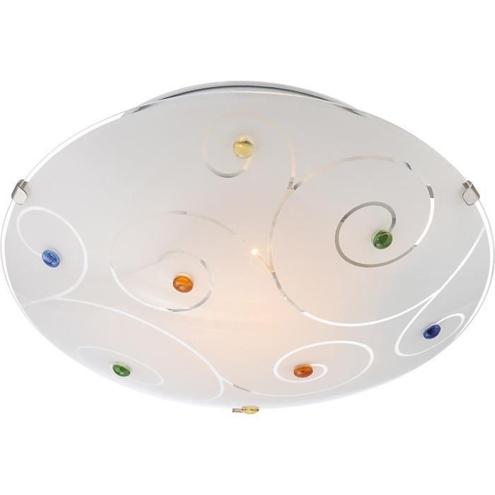Plafonnier chrome, verre blanc, cristaux multicolorePLAFONNIER
