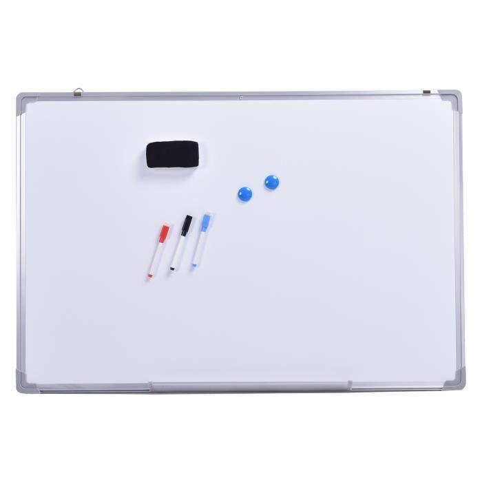 tableau blanc magnétique 70x50 cm effaçable surface avec cadre en