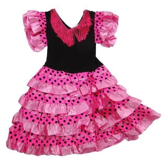 cf7ec9beb13 DÉGUISEMENT - PANOPLIE Robe de danse FLAMENCO fillette 8 ans rose à pois