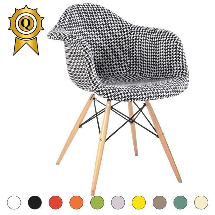 Design Retro Fauteuil.1 X Fauteuil Design Retro Inspiration Eames Daw Pieds En Bois Naturel Pied De Poule Mobistyl