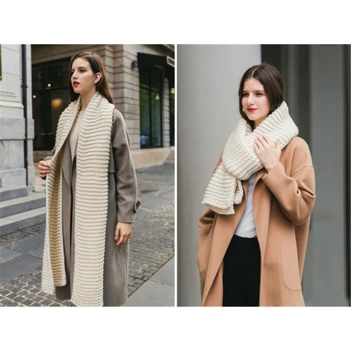 948b6c983 Longue écharpe beige épaisse tricotée en laine femmes et hommes adultes
