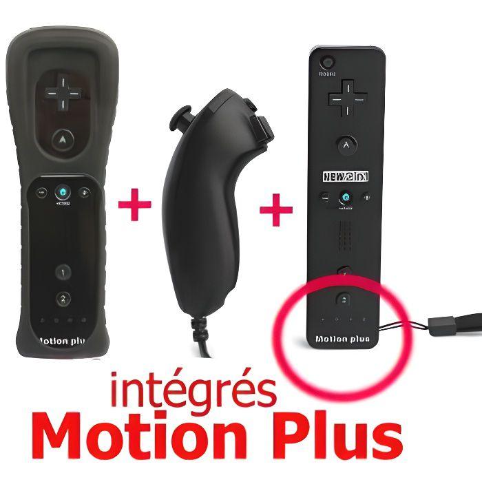 MANETTE JEUX VIDÉO Manette Motion Plus Wii + Nunshuck + Housse Noir