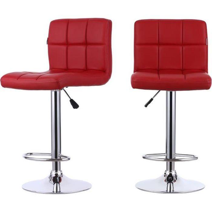 IKayaa 2PCS Ensemble Tabourets de Bar Rouge Chaise à Manger Design  Classique Cuir PU Noir Maison Bistrot 3808ac120a17