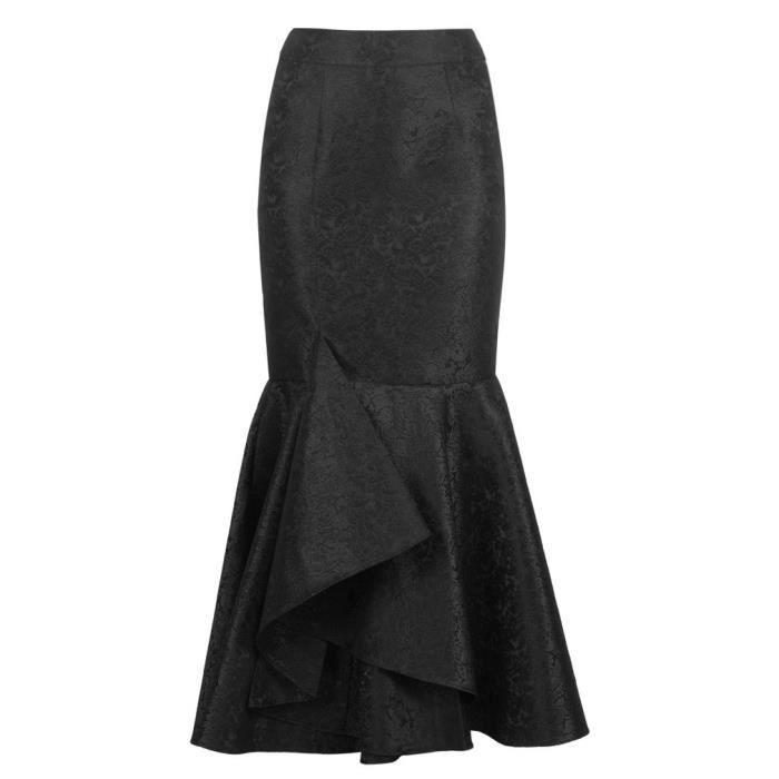 aacb28f0f44e9 Longue jupe brocard noir élégante gothique avec volants Noir - Achat ...