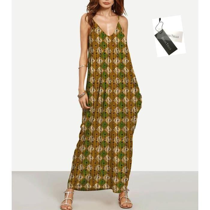 Dresstells Robe Longue Femme sans manche Robes Bohèmes Col V à bretells Imprimé Casual pour été vacances voyage (Avec poche)