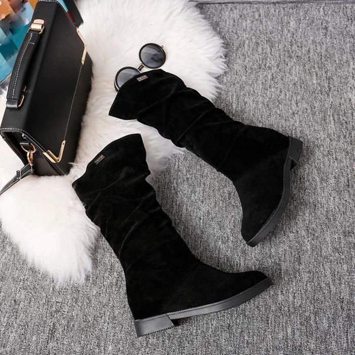 Botte Femmes Flock Automne Douce neige de Bottes Hiver Chaussures Stylish Bottes Flat pqFFI7