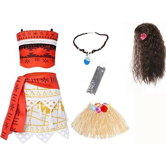 official huge selection of best choice 2018 MOANA Robes avec Collier Perruque Tenue d'aventure