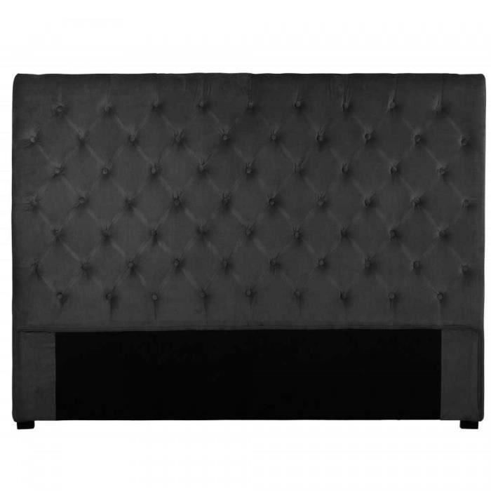 t te de lit capitonn e volupto velours anthracite 180x120cm achat vente t te de lit t te de. Black Bedroom Furniture Sets. Home Design Ideas