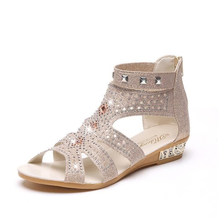 Shoes Ladies Sandals Summer Mouth Beige Fish Wedge Roma Fashion Spring Femmes Hollow vqd5vC