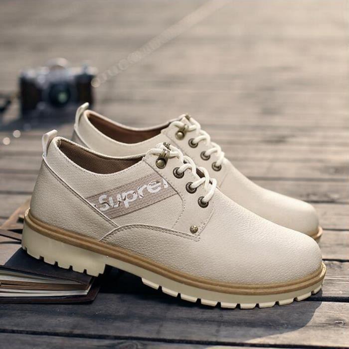 Homme Cuir Beige Chaussures Chaussure Bottines En Retro 1OqTTw