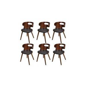 CHAISE 6 chaises de salle à manger en cuir mélangé brun