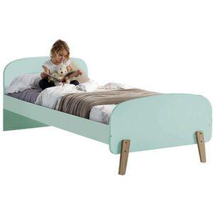 Lit design scandinave 90x200 cm en bois de pin massif et MDF coloris ...