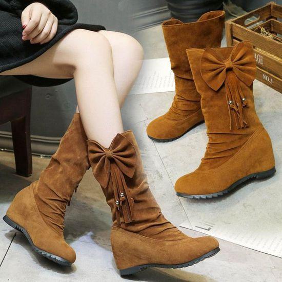 Femmes Bottes Bowknot Gland Bottes d'Hiver Chaud Mi-mollet Bottes Hiver Chaussures  marron Marron Marron - Achat / Vente slip-on