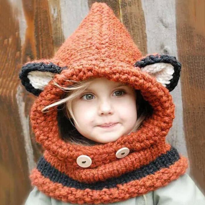 Bonnet Bébé Enfant Chapeau Capuche Laine Tricot To