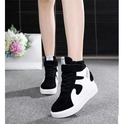 Dans les haut-dessus chaussures chaussures de sport ont augmenté de chaussures de toile de plate-forme de chaussures, noir 36