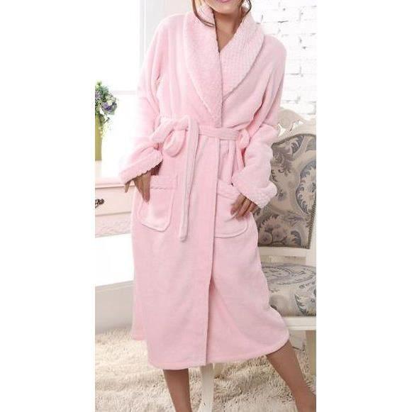 Peignoir femme rose clair col ch le epais achat vente peignoir cdiscount - Robe de chambre femme leclerc ...