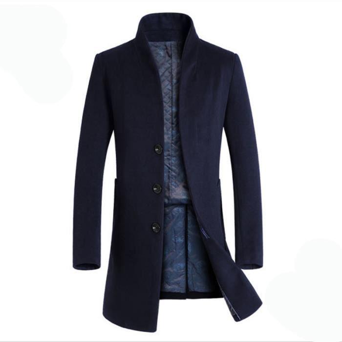 Épais Coupe Droite Caban Longue Manteau Laine Classique Homme En qzdwCxg