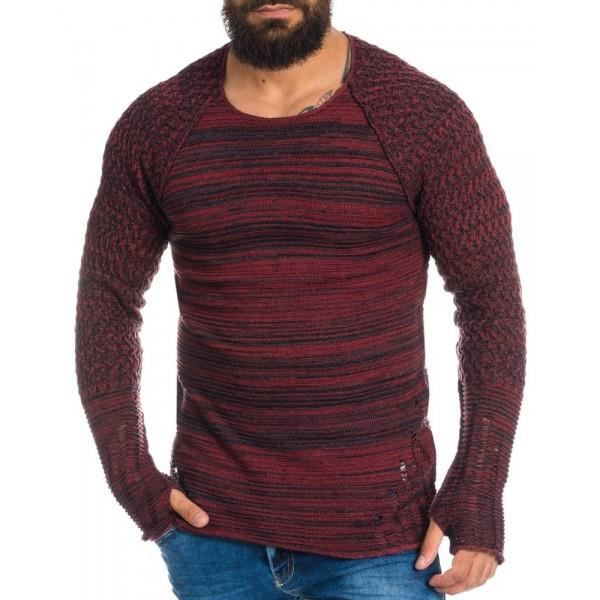 PULL Pull homme fantaisie rouge
