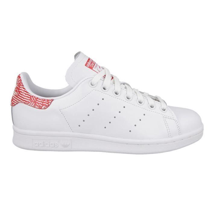 chaussures de sport 557dd 332b9 S76664 STAN SMITH FEMME BLANC/ROUGE BLANC - Achat / Vente ...